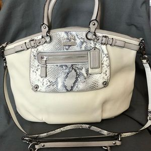 Coach Satchel Faux Snakeskin and Cream Leather